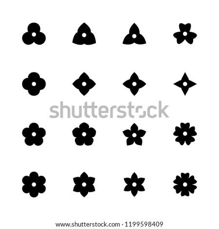 simple flower icons set black