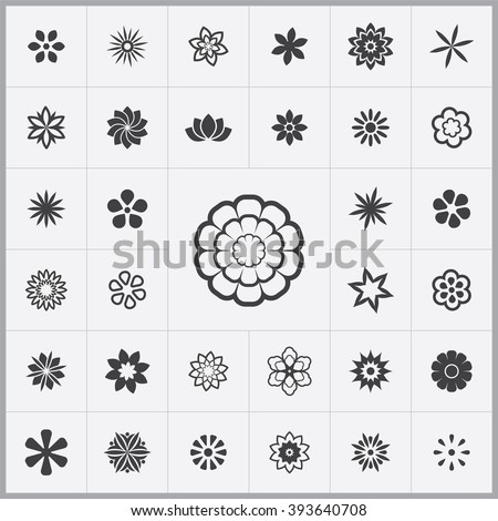 Simple flowers icons set. Universal flowers icon to use for web and mobile UI, set of basic UI flowers elements