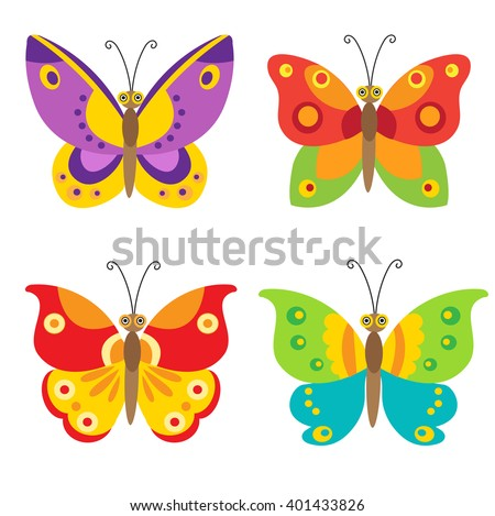 simple flying butterfly vector