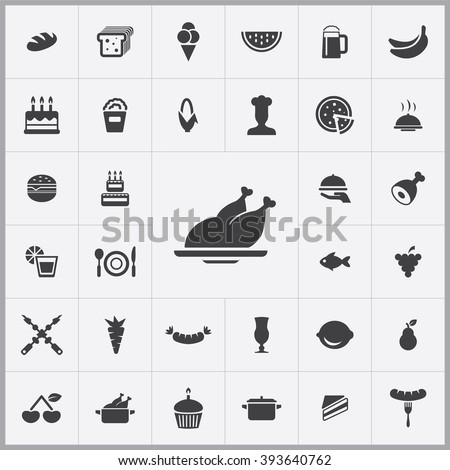 Simple food icons set. Universal food icons to use for web and mobile UI, set of basic UI food elements