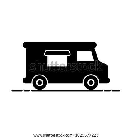 Simple food truck silhouette. Isolated on white