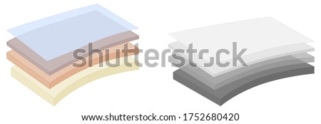 Simple four layers or fabric diagram. Various thickness, colors and gray version, top layer opaque, sheets are slightly bent