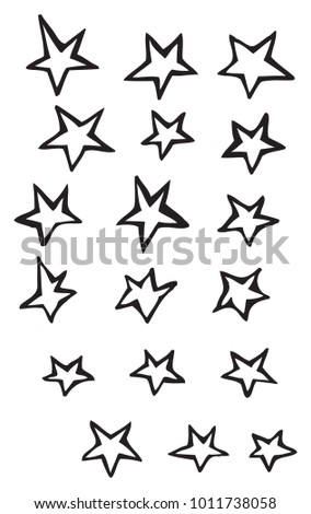 Simple free-form five point stars vector drawing illustrations organic irregular and whimsical forms, great for holidays