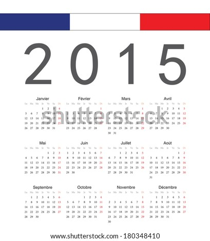 Simple french 2015 year vector calendar Week starts from Monday