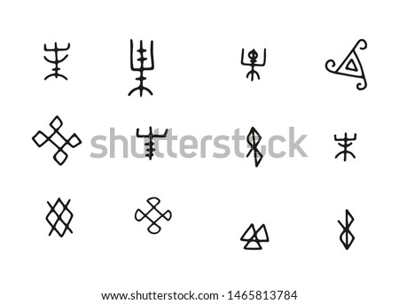 Simple Futhark norse islandic and viking runes set. Magic hand draw symbols as scripted talismans. Vector ancient runes of vikings. Galdrastafir, mystic signs of early North magic.Ethnic norse viking.