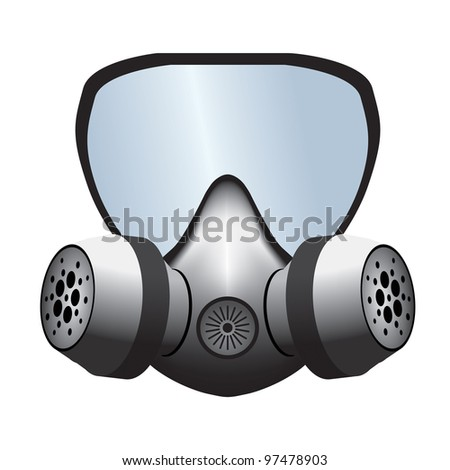 Simple gas mask vectorial illustration isolated on white.