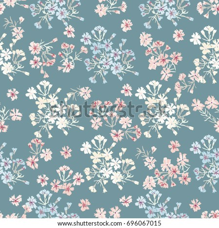 Simple gentle pattern in small-scale prairie flower. Millefleurs. Liberty style. Floral seamless background for textile or book covers, manufacturing, wallpapers, print, gift wrap and scrapbooking.