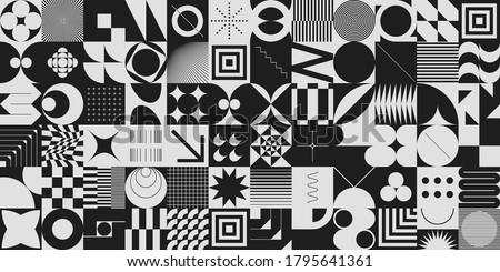Simple geometric abstract vector pattern with simple shapes and monochrome colors. Geometric graphics composition, best use in web design, business card, invitation, poster, textile print, background. stock photo