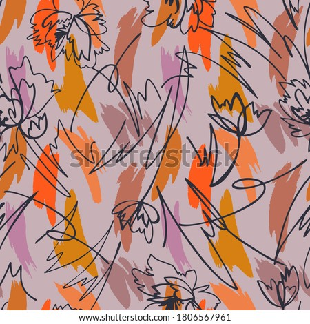 Simple geometric brush strokes background. Seamless pattern with contour flowers mixed with abstract shapes texture. Line art. Outline drawing.