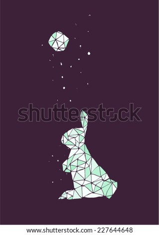 Stock Photo Simple geometric moon rabbit in a starry night. Cold colors, violet and blue, dark background, vector illustration.