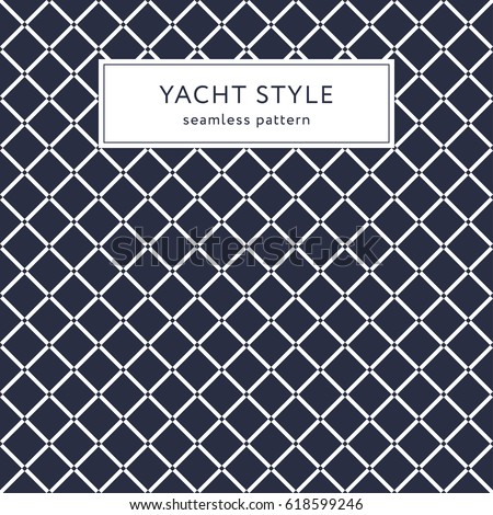 Simple geometric seamless pattern with rhombuses. Yacht style design. Abstract background decoration. Vector illustration for fashion minimalistic design.  Modern elegant wallpaper. Navy blue color.