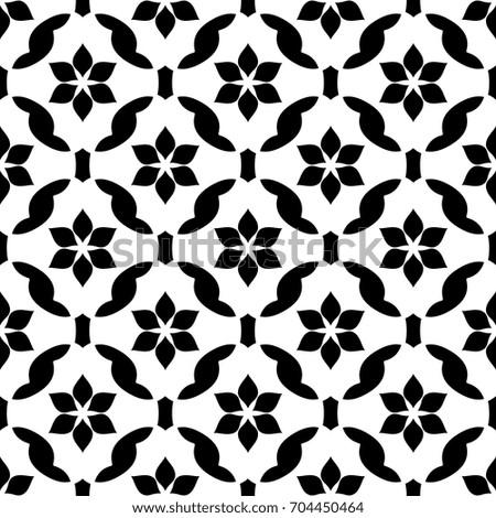 Simple geometric vector pattern. Vintage oriental floral lattice ornament. Seamless arabesque background. Decorative printing block. Interior textile, fabric, wallpaper black and white allover design.