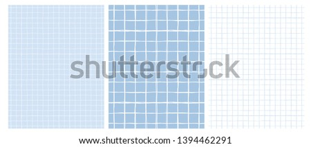 Simple Geometric Vector Pattern with Light Gray Grid on a White Background and  White Grid on a Blue Layout. Abstract Notepad Paper with Irregular Hand Drawn Blank. Funny Pastel Color Graph Paper.