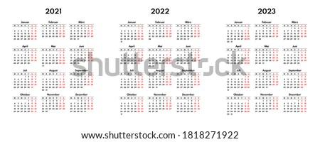 simple 2021 2022 2023 german calendar grid, starts monday, two weekend Stock foto ©