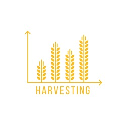 simple golden harvesting graph icon. minimal trend modern logotype design element isolated on white background. concept of information or statistics of eco farming like forecasting increase or profit