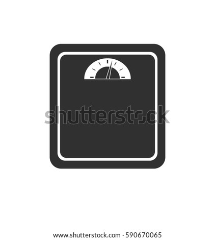 Simple gray weight scale icon isolated on white background. Web site page and mobile app design element. Flat design for graphic design, logo, social media, UI, EPS10.