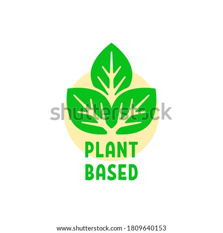 simple green plant based logo. flat simple style trend modern vegan logotype graphic design element isolated on white background. concept of healthy food icon for shop or store Foto stock ©