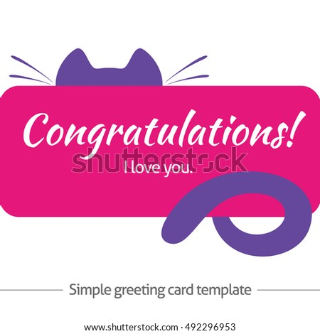 Simple greeting card template with cat's elements. Template for gift card or banner