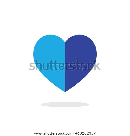Simple Half Blue Heart Vector Outline Graphic Icon, can be use in t-shirt, bag, app, website, and other graphic element.