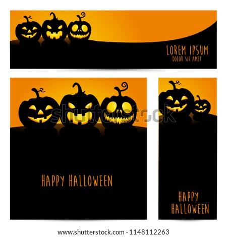 simple halloween pumpkin vector, halloween theme set for header, web, background, banner and potrait banner etc