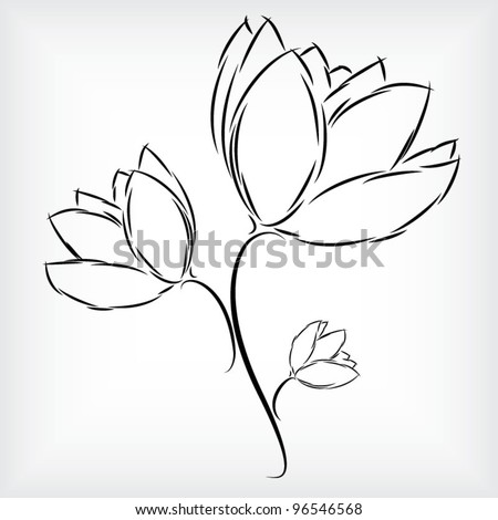 Tulip Flower Picture on Of Beautiful Three Tulip Flowers Stock Vector 96546568   Shutterstock