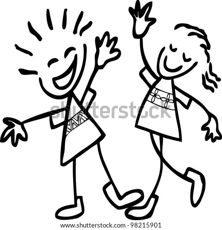 simple hand drawing of cheer up boy and girl
