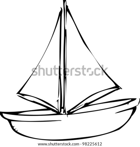Simple Ship Drawing Simple Hand Drawing of Sailing