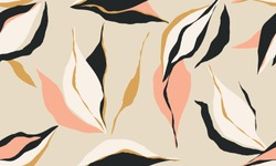 Simple hand drawn abstract pattern. Creative collage contemporary seamless pattern. Natural colors. Fashionable template for design.