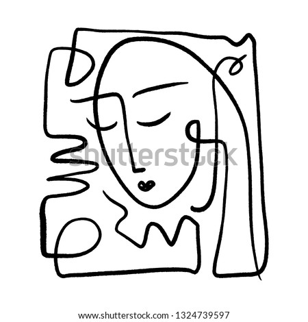Simple hand drawn black and white trendy line portrait art. Abstract composition. Monochrome print for clothes, textile and other. Vector illustration
