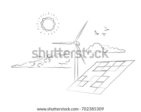 Simple hand drawn Cleantech industry scene with wind turbine and solar panels.