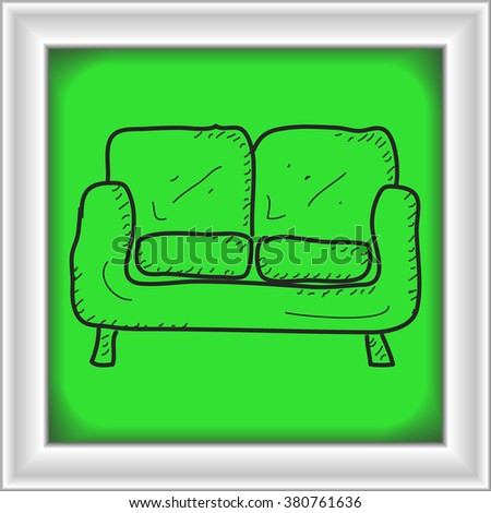 Simple hand drawn doodle of a sofa