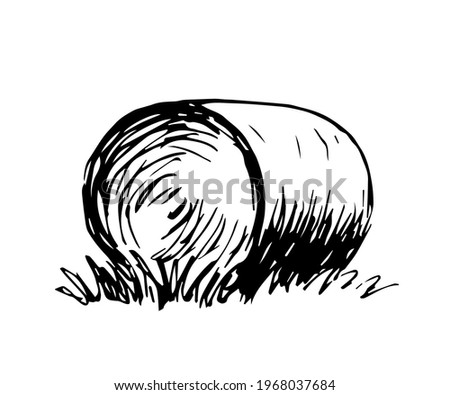 Simple hand drawn vector drawing in engraving style. Round haystack isolated on white background, straw, dry grass. Farm, ranch. Countryside, autumn fields, harvest. Stock photo ©