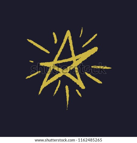 Simple hand drawn yellow brush star print. Clipart, isolated vector symbol