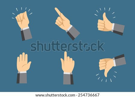Simple hand icons - collection of various gestures - vector illustration