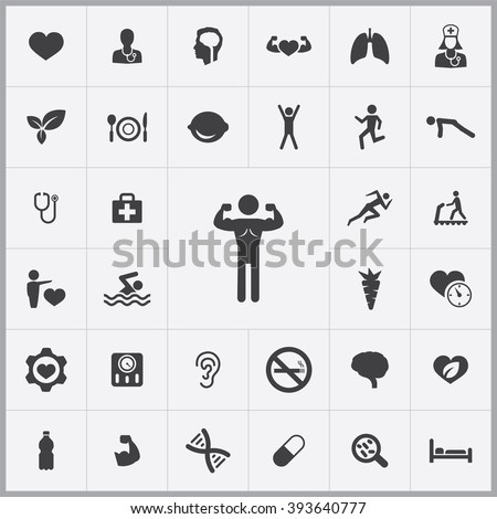 Simple health icons set. Universal health icon to use for web and mobile UI, set of basic UI health elements