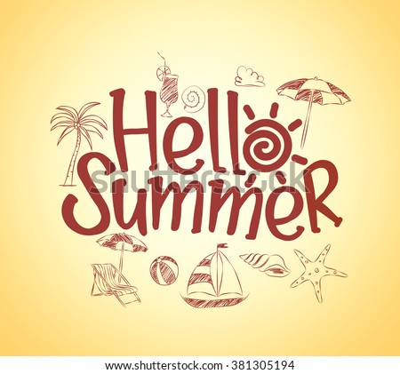 simple hello summer poster