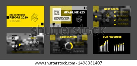 Simple Horizontal Cover Collection. PPT Annual Report, Infographic Elements. Yellow Presentation Slide Set. Minimal Vector Corporate Identity Portfolio Template. Tech Flyer, Cover Design.