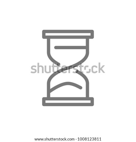 Simple hourglass and sandglass timer or clock line icon. Symbol and sign vector illustration design. Isolated on white background