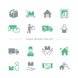 SIMPLE HOUSE MOVING ICON SET
