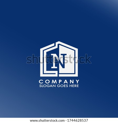 Simple house N letter logo, initial half negative space letter design for business, education, technology style. Foto stock ©