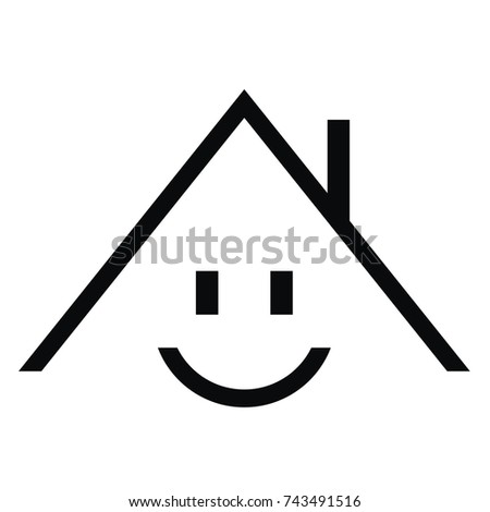 simple house, vector icon, smiling house