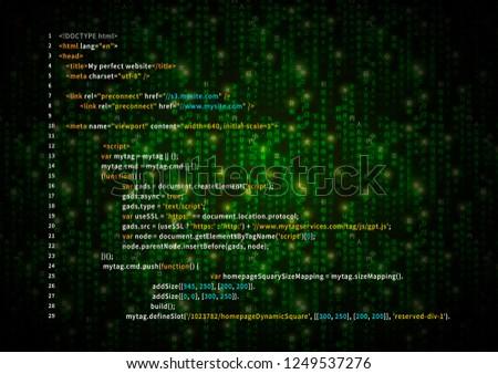 Simple HTML code on green matrix symbols, digital binary code on dark Foto d'archivio ©