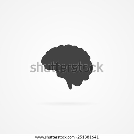 Simple human brain icon. Shadow and white background.