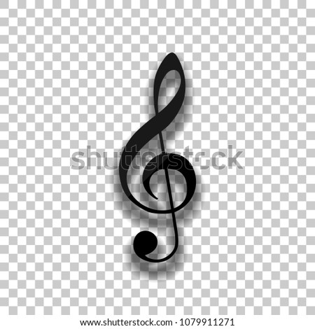 Simple icon of treble key. Black glass icon with soft shadow on transparent background