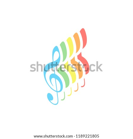 Simple icon of treble key. Stack of colorful isometric icons on white background
