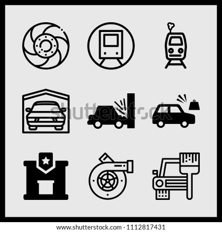 simple 9 icon set of car