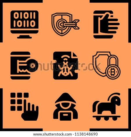 Simple icon set of hacker related security, malware, hacker and hacker vector icons. Collection Illustration