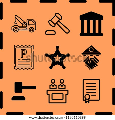 Simple 9 icon set of legal related auction, parking ticket, loan and jury vector icons. Collection Illustration