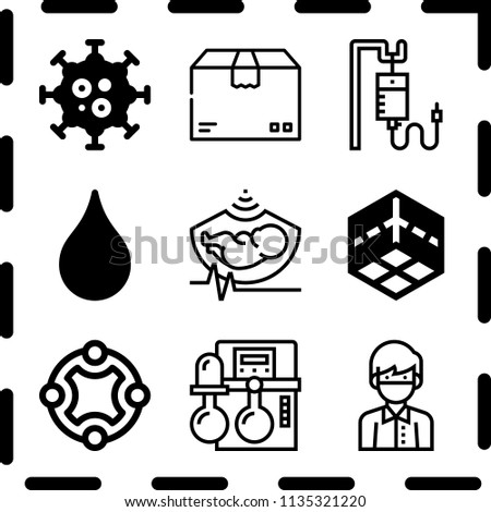 Simple 9 icon set of medical related connect, box, virus and blood transfusion vector icons. Collection Illustration