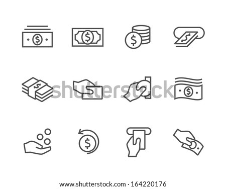 Simple icon set related to Money.